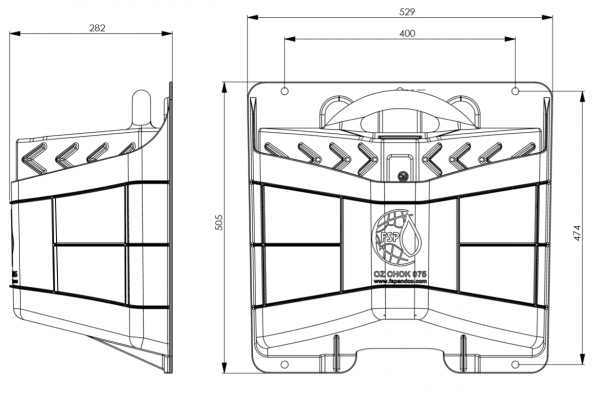Dual Axle wheel chock- drawing