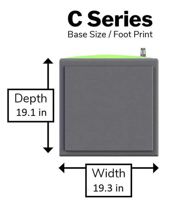 Locker Size - foot print - base measurements