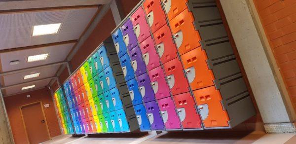 Colorful School Lockers Hallway
